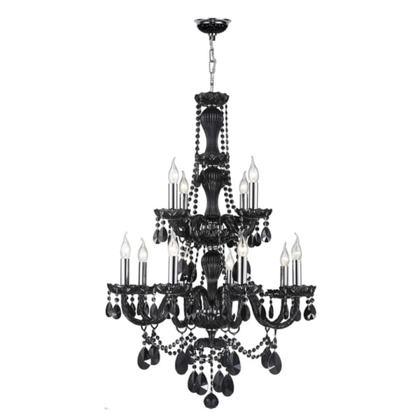 Venetial Italian Style Collection 12 Light Chrome Finish And Black Crystal Chandelier 28 Inch X