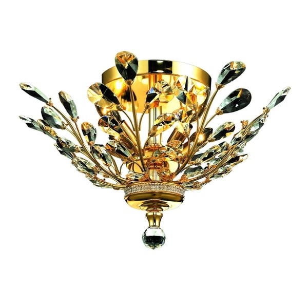 floral orchid collection 4light gold finish and clear crystal floral semiflush mount