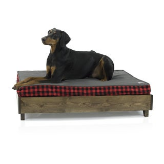 eLuxurySupply Brown North American Pine Mid-century Style Platform Dog Bed