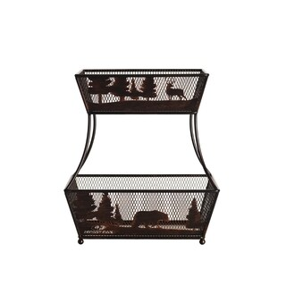 Mossy Oak Black Wrought Iron 2-tier Flatback Basket