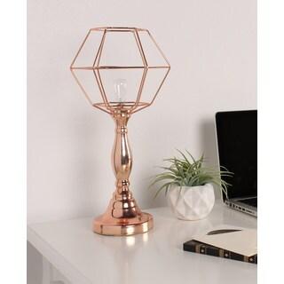 Lazano Rose Gold Metal Geometric Desktop LED Lamp