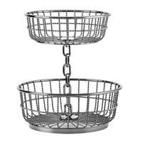 Gourmet Basics by Mikasa Black Wrought Iron Chain 2-tier Basket