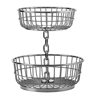 Gourmet Basics by Mikasa Black Wrought Iron Chain 2-tier Basket