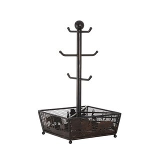 Mossy Oak Black Wrought Iron Mug Tree with Bottom Basket