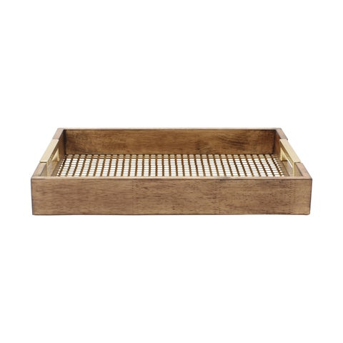 Kate and Laurel Hanneli Walnut-finish Wood and Metal Decorative Trays (Set of 2)