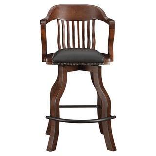 Whitaker Furniture 'Champion Spectator' Distressed Walnut-finish Leather and Wood Stool