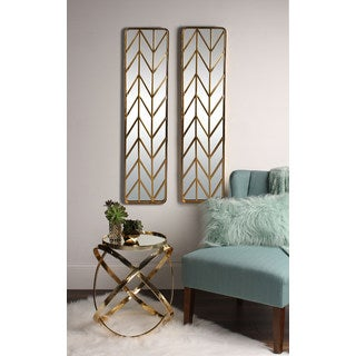 Kate and Laurel Marland Metal Chevron Handcrafted Wall Panel Mirror