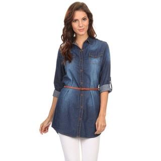 Women's Blue Denim Waist-tie Button-down Shirt