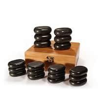 Master Massage 18-piece Mini Body Massage Hot Stone Set with Bamboo Box