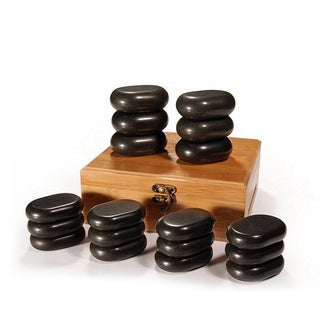Master Massage 18-piece Mini Body Massage Hot Stone Set with Bamboo Box