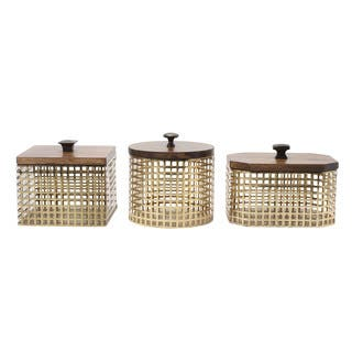 Glenda Perforated Metal Canister with Solid Wood Lid|https://ak1.ostkcdn.com/images/products/13032154/P19772920.jpg?impolicy=medium