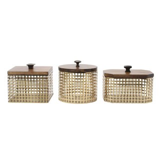 Glenda Perforated Metal Canister with Solid Wood Lid