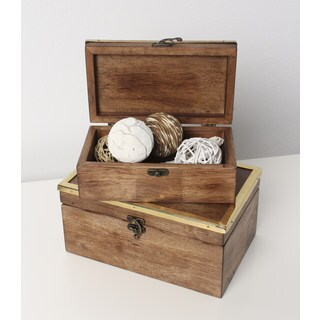 Ailey Solid Wood Nesting 2 Piece Trinket Box Set
