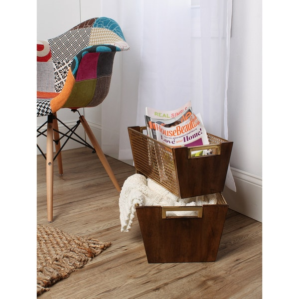 Isabelle Wood and Metal Set of 2 Decorative Nesting Baskets