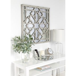 Kate and Laurel Andressa Grey MDF and Glass Square Distressed Geometric Framed Mirror