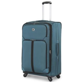 Global Traveler Teal Polyester 28-inch Expandable Spinner Suitcase
