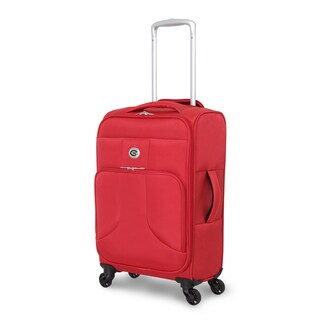 Global Traveler Rust Red Polyester 19-inch Carry-on Spinner Suitcase