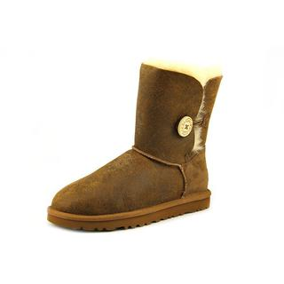 Ugg Australia Women's Bailey Button Bomber Brown Distressed Leather Boots
