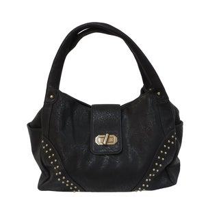 Donna Bella 'Eliana' Black Faux-leather Tote Bag