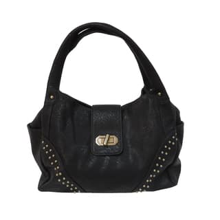 Donna Bella Eliana Black Faux Leather Tote Bag