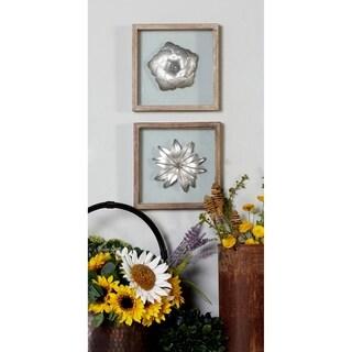 Benzara Silvertone Metal and Brown Wood 3-piece Wall Plaque Set