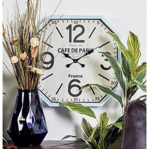 Benzara Amazing White and Blue Metal Wall Clock