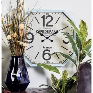 Link to Benzara Amazing White and Blue Metal Wall Clock Similar Items in Decorative Accessories