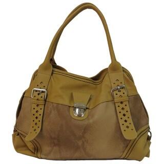 Donna Bella 'Victoria' Mustard Faux Leather Tote Bag