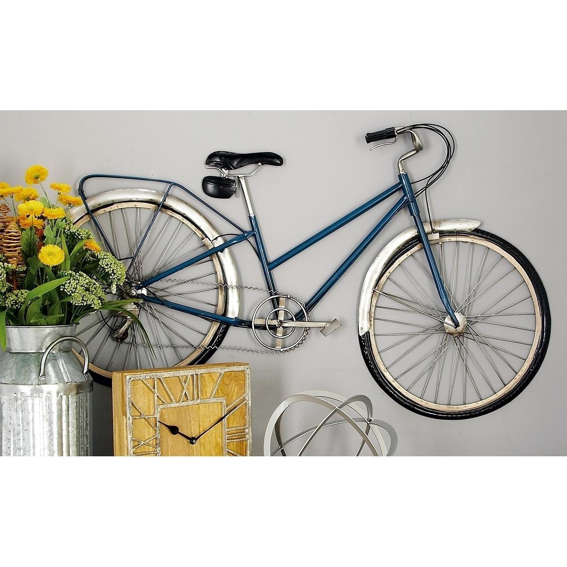 Benzara Blue Iron Decorative Wall Bicycle (Blue)