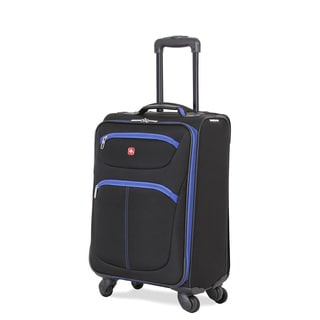 SwissGear Black and Blue Polyester 20-inch Lightweight Carry-on Spinner Suitcase