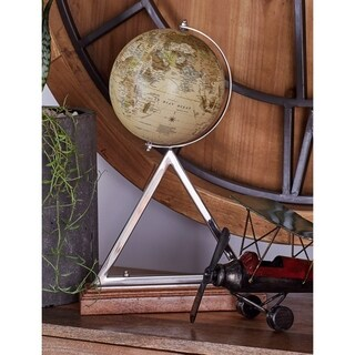 Modern 17 Inch Stainless Steel, PVC and Mango Wood Globe by Studio 350 - N/A
