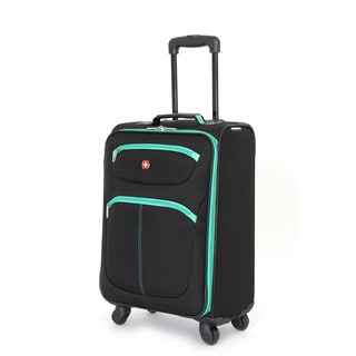 SwissGear Black/Green 20-inch Lightweight Carry-on Spinner Suitcase