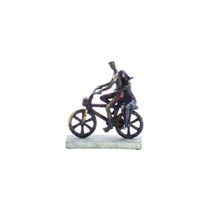 Benzara Black/Gold Polyester/Stone Bicycle Figurine