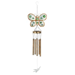 Benzara Charming Gold Metal Butterfly Wind Chime