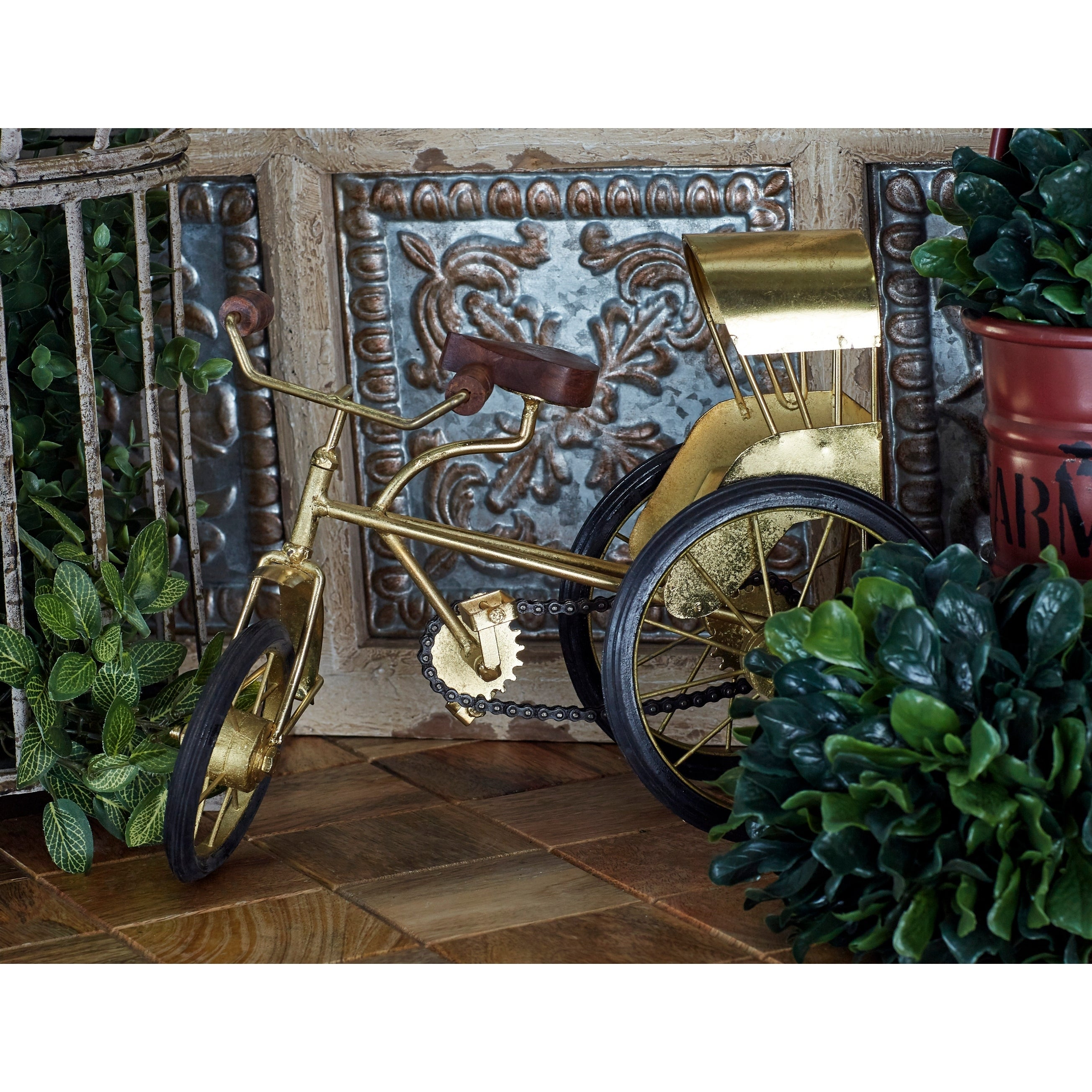 Benzara Fabulous' Gold Metal and Wood Tricycle (Paprika -...