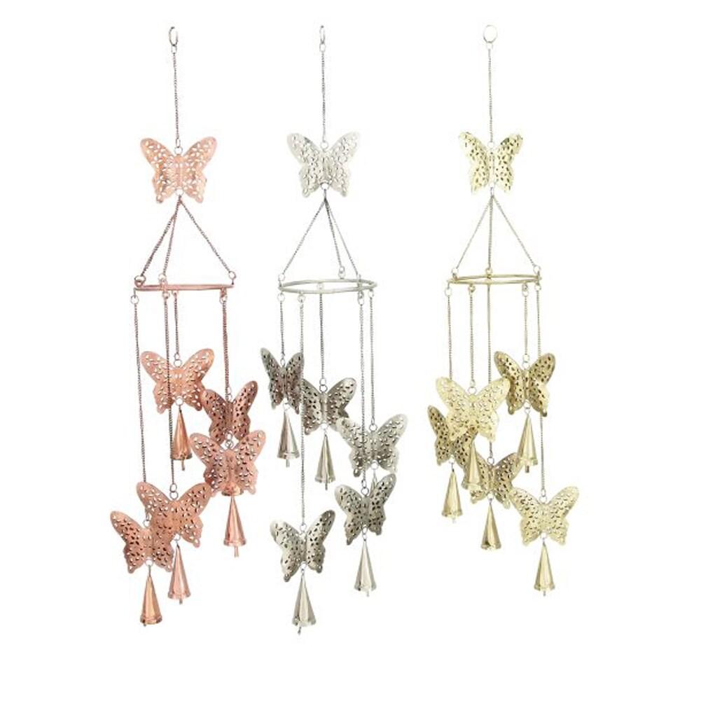 Benzara 3-Piece Butterfly Metal Windchime Set (Light Gold...