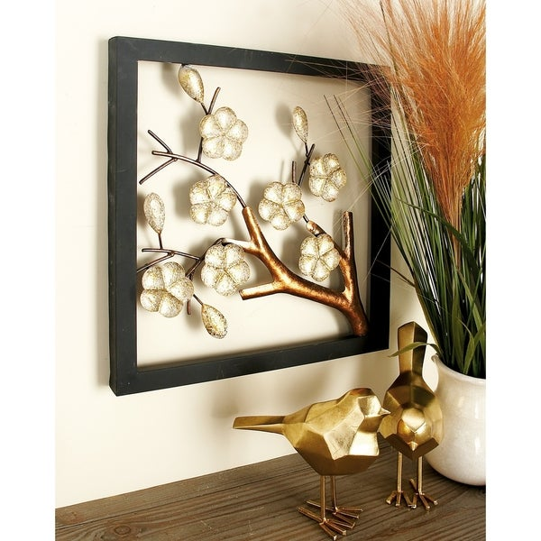 Set of 2 Natural 16 x 16 Inch Iron Flower Wall Decor by Studio 350
