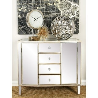 "36"" x 31"" Rectangular White Wood and Mirrored Cabinet by Studio 350"