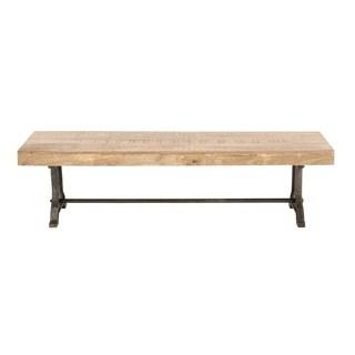 Rustic Rectangular Metal Wood Bench by Studio 350
