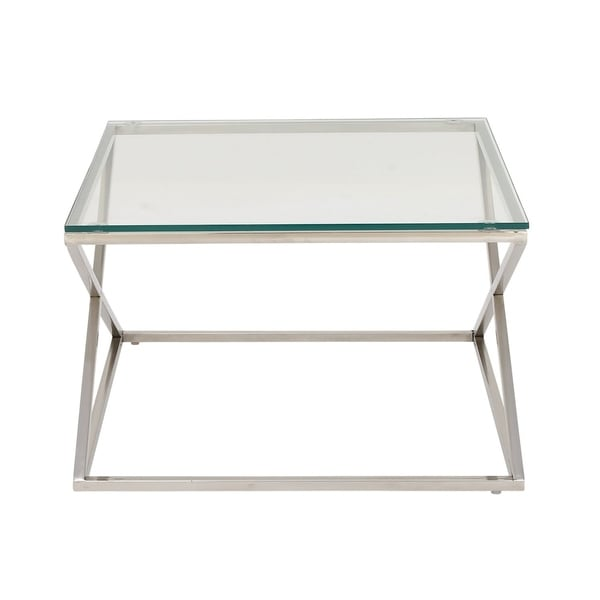 Studio 350 Stainless Steel Gl Coffee Table 30 Inches Wide 19 High
