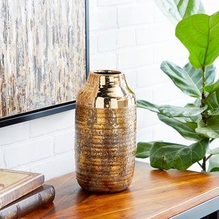 """Link to Studio 350 Cylinder Textural Ceramic Vase with Electroplated Metallic Copper, 6"""" x 12"""" Similar Items in Decorative Accessories"""