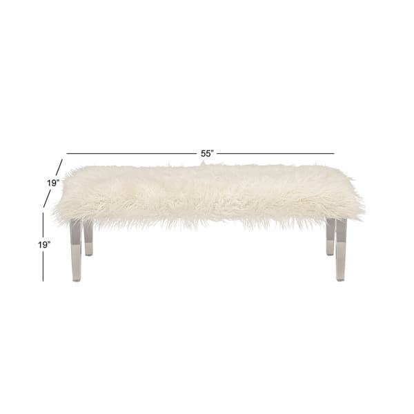 Tremendous Shop 55 X 19 Long White Faux Fur Bench By Studio 350 On Squirreltailoven Fun Painted Chair Ideas Images Squirreltailovenorg