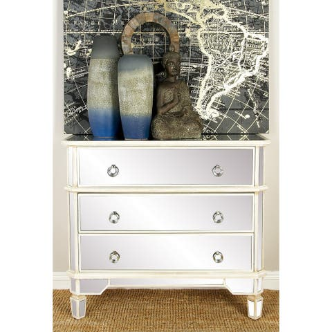 "44"" x 34"" Glam 3-Drawer Mirrored Wooden Cabinet by Studio 350"