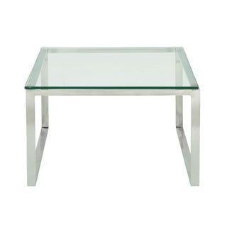Studio 350 Stainless Steel Glass Coffee Table 30 inches wide, 19 inches high