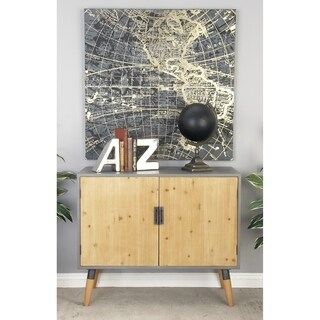 "39"" x 33"" Mid-Century Gray and Natural Wood Cabinet by Studio 350"