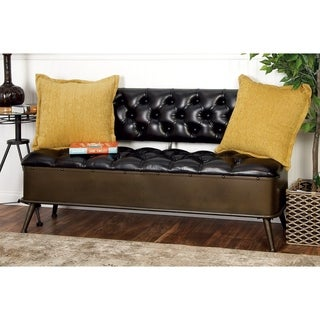 "54"" x 31"" Metal and Faux Leather Tufted Storage Bench by Studio 350"