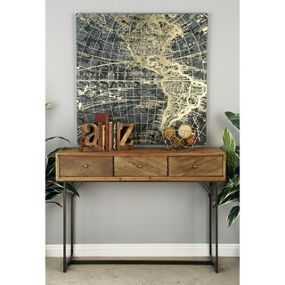 Rustic 3-Drawer Wood and Metal Console by Studio 350 - N/A