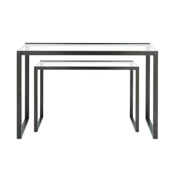 Benzara Metal and Glass Console