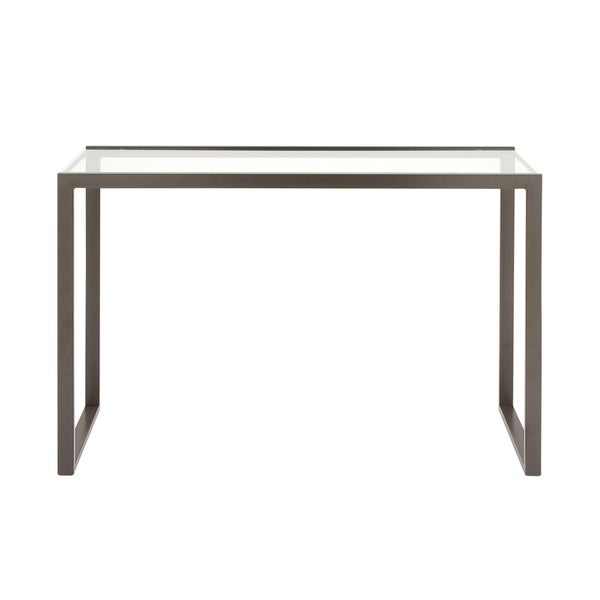 Modern Rectangular Glass and Metal Gray Console Table Set - N/A