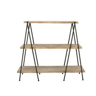 Benzara Wood and Metal 3-tier Shelf